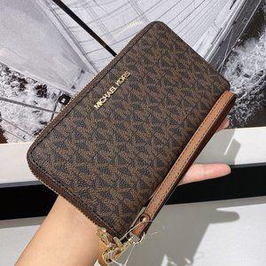 MK JST LG Phone Case Wristlet Wallet Logo Brown